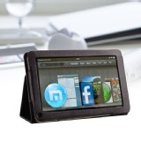 "Folio PU Leather Stand Case Cover For Amazon Kindle Fire 7"" Tablet Black"