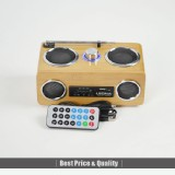 LEONA Multimedia Rechargable Portable Speaker FM Radio/MP3/USB/SD/MMC Card Wood