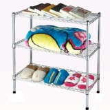 3 Tiers Shoe Rack Storage Organizer Metal Chrome Plated Shelf