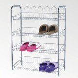 4 Tiers Shoe Rack Storage Organizer Closet Chrome Plated Shelf