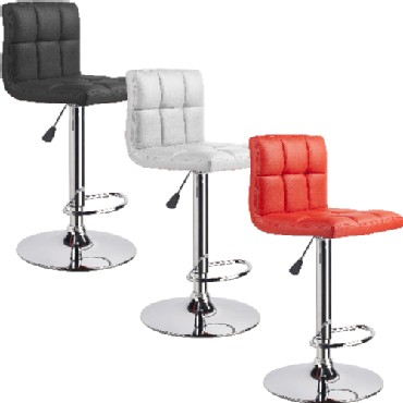 New Set of Two(2) Modern Leather Adjustable Swivel Bombo BarStools Chairs