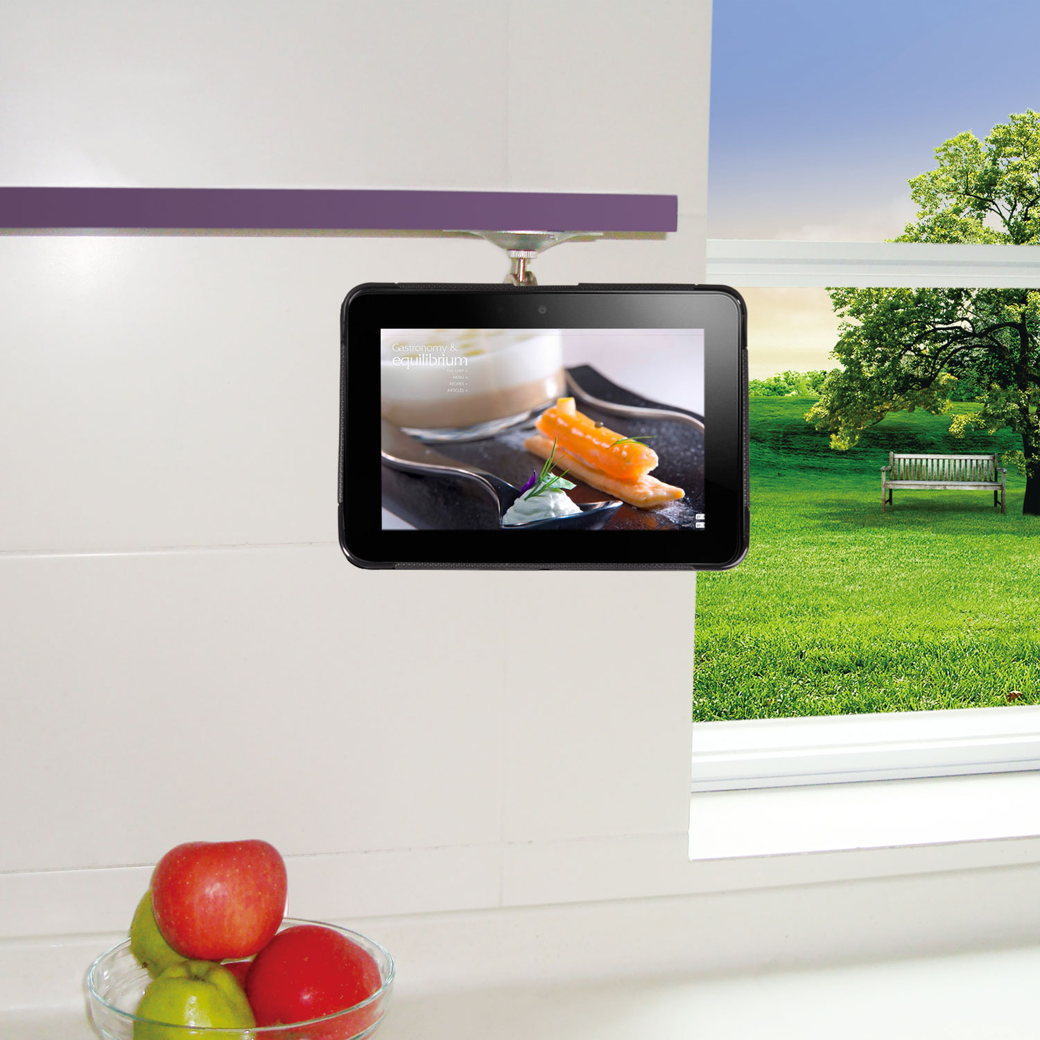 TFY Adjustable Kitchen Shelf Cabinet Mount for Amazon Kindle Fire HD