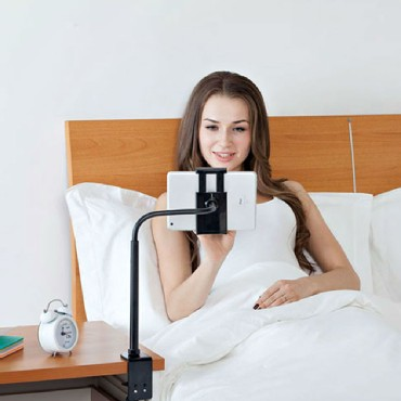 Universial Gooseneck Tablet Mount Holder for Bed & Table + Smart Phone Clamp