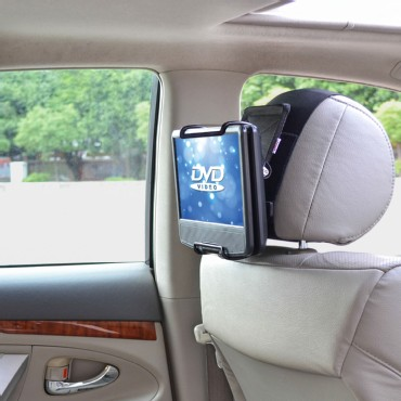 TFY Universal Car Headrest Mount Holder with Angle - for Swivel Screen Portable DVD Players, Black