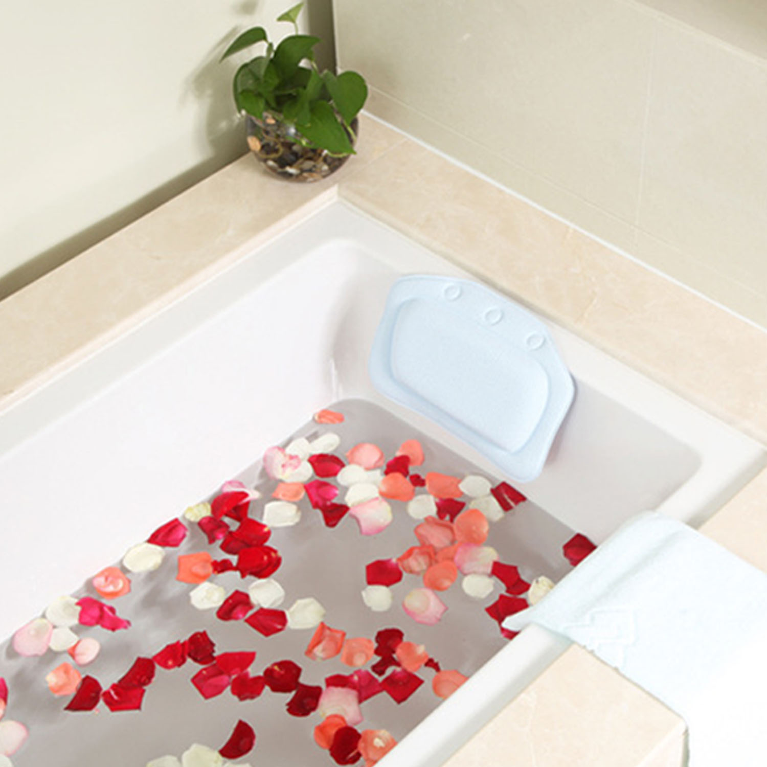 WANPOOL Spa Bathtub Pillow with 3 Strong Suction Cups -Car Mount ...