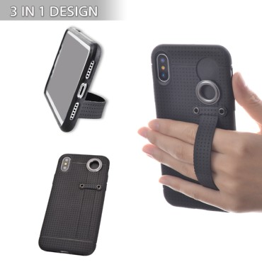 TFY 3 in 1 Design, Case Cover + Stand + Hand Strap Holder for iPhone X, Black