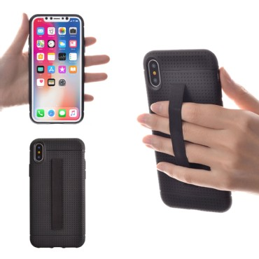 TFY Apple iPhone X Case Cover with Elastic Strap Holder, Black