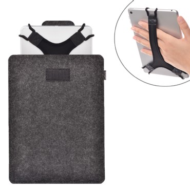 TFY Protective Carrying Pouch Bag (Grey), plus Bonus Hand Strap Holder for For 9 - 10 Inch Tablets