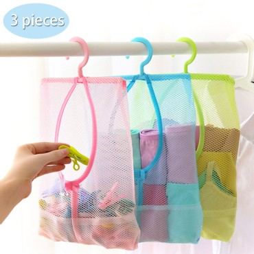 TFY Hanging Mesh Storage Organizer Bag with 360°Rotation Hanger for Kitchen, Bathroom - 3  Pieces